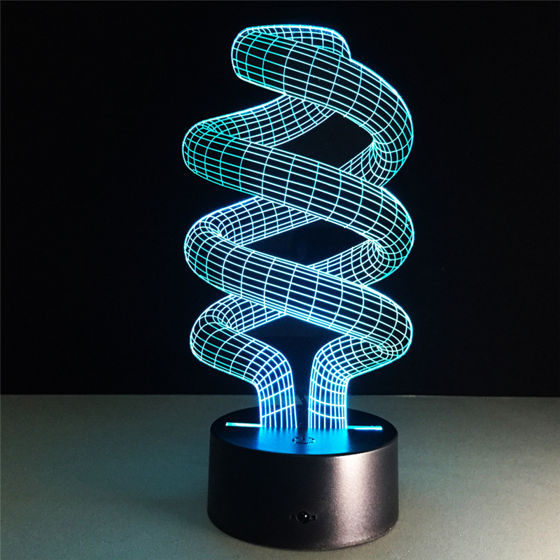 Acrylic 7 Color Spiral lamp 3D LED nightlight of bedroom lamp livingroom lights desk table Decoration Night Light Kids Gift