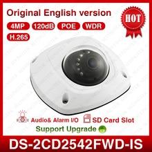 Hik оригинальный DS-2CD2542FWD-IS HD 4MP H.265 ИК 120dB WDR Встроенный микрофон сети Камера 2.8/4 мм объектив с sd Слот
