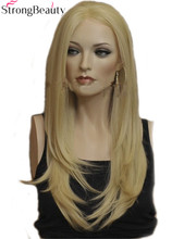 Strong Beauty Lace Front Synthetic Wigs Straight Long Blonde Wig For Woman Party