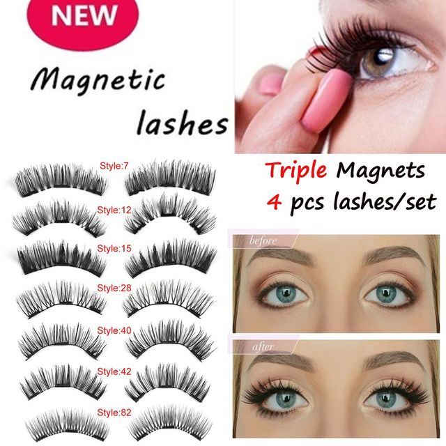 6059dc79374 1Set Handmade Triple Magnetic 3DFalse Eyelashes Full Coverage Glue-free  Fake Eye Lashes Full Strip Lashes Makeup Extension Tools