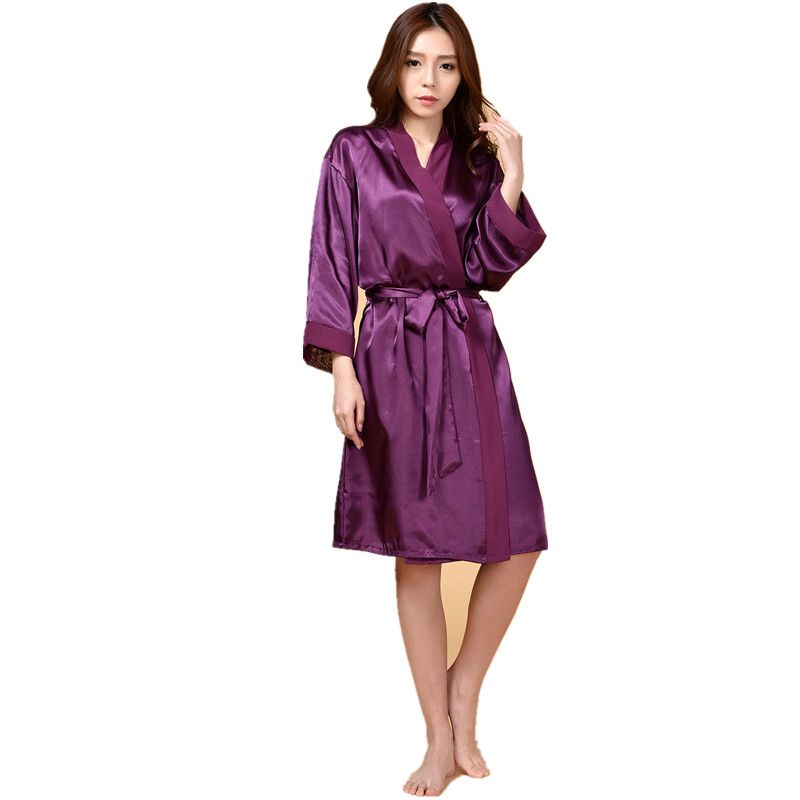 Top Quality New Purple Chiese Women Silk Chiffon Robe Sexy Kimono Bath Gown Sleepwear Nightgown Casual Robe One Size T03