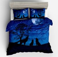 3d Animal series 3pcs All kinds wolves print duvet cover pillow case set Blue galaxy moon wolf printed bedding sets full size