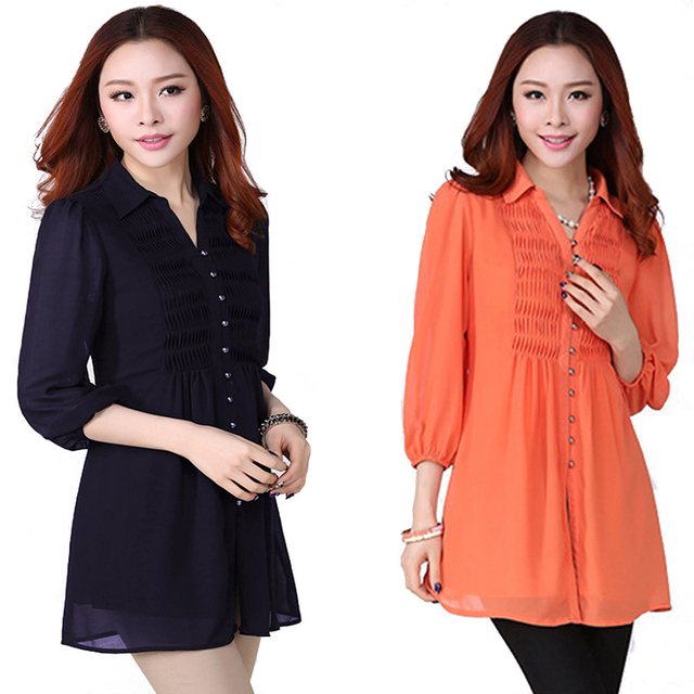 Long Shirt Loose  Casual Blouses & shirts  Women Big Size 6xl Plus Size Women Clothing Tops Solid Blue Blcak Chiffon Blouse
