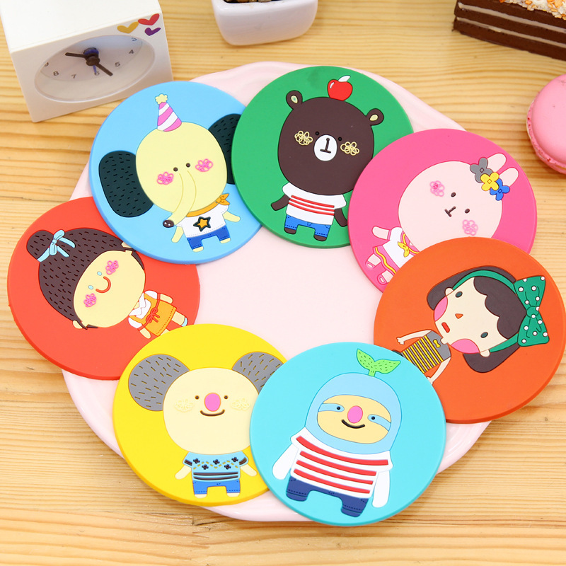 7 pcs/<font><b>set</b></font> Silicone <font><b>Cartoon</b></font> <font><b>Cup</b></font> Mats Mug <font><b>Coaster</b></font> Creative Home Kitchen Table Decoration Coffee <font><b>Drink</b></font> Placemat