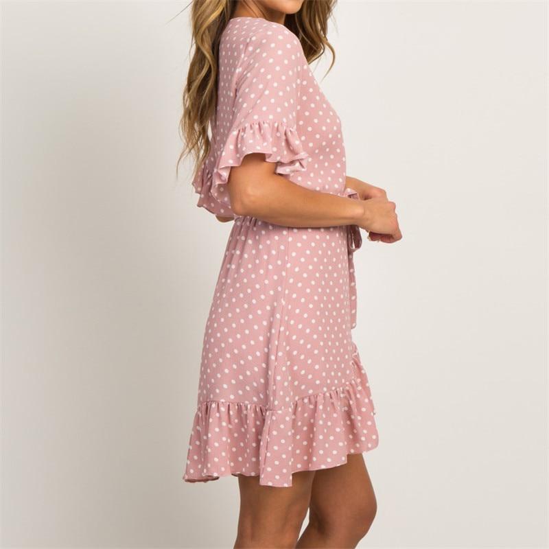 Summer Chiffon Dress 2019 Boho Style Beach Dress Fashion Short Sleeve V-neck Polka Dot A-line Party Dress Sundress Vestidos 1