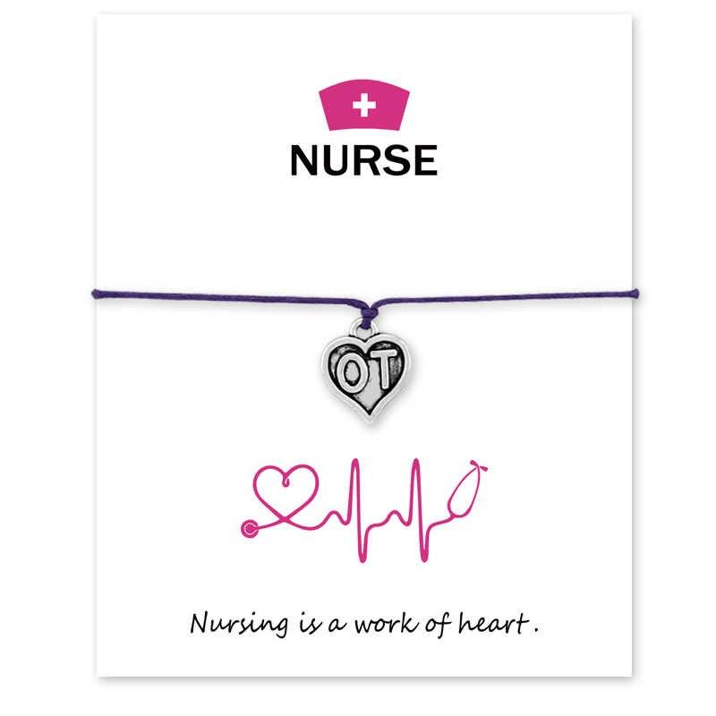 Шляпа медсестры OT LPN EMT DH Медицинский символ браслеты желаний с карточкой регулируемые браслеты с карточкой для женщин и мужчин подарок