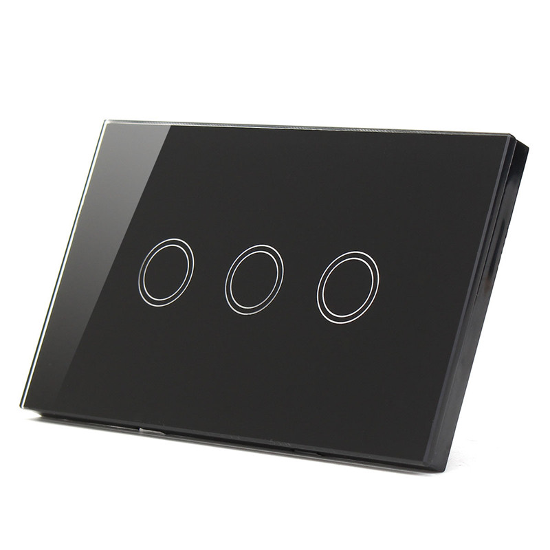 US standard, Wall Switch, Black White Gold Glass Panel, AC 110V-240V, LED indicator, 3 Gangs 3 Way Touch Control Light Switch лаки для ногтей poeteq гель лак для ногтей poeteq тон 45
