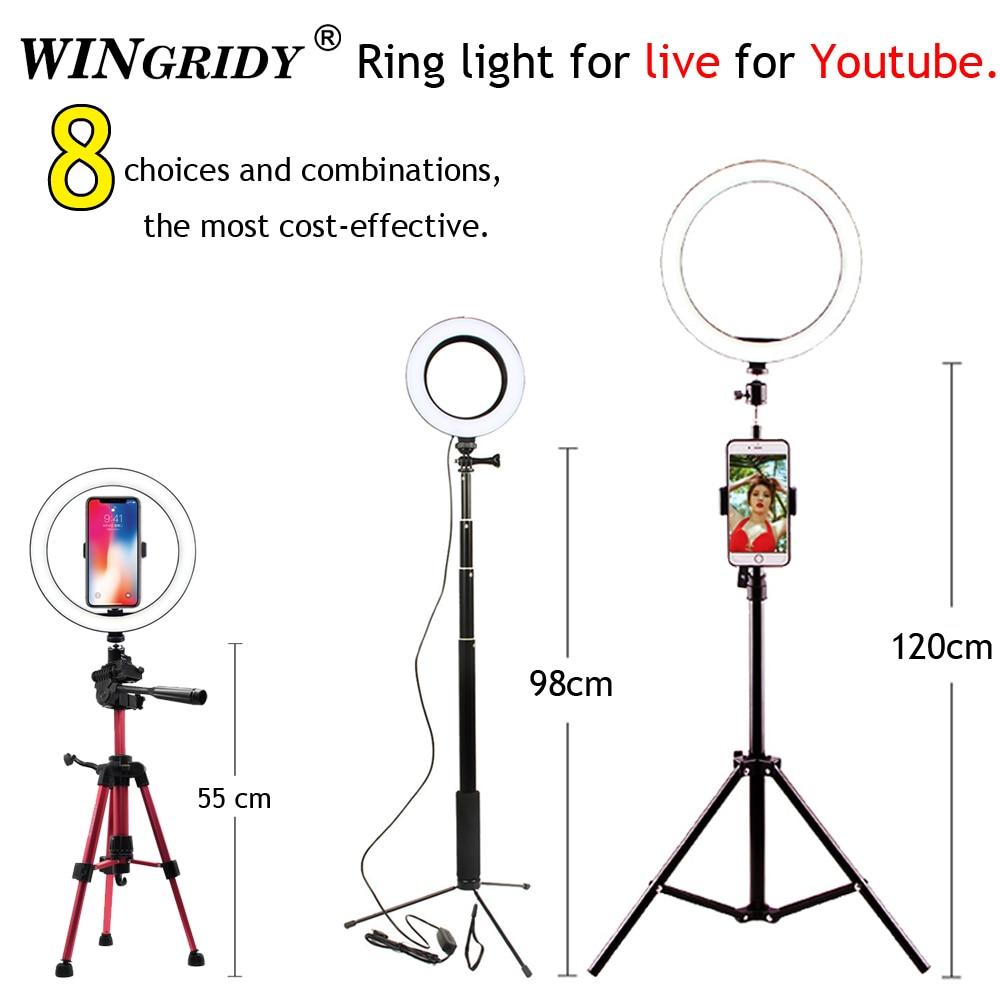 ไฟ LED 16 ซม.26 ซม.5600K 64 LEDs Selfie แหวนโคมไฟที่มีขาตั้งผู้ถือโทรศัพท์ปลั๊ก USB Photo Studio-ใน ไฟถ่ายภาพ จาก อุปกรณ์อิเล็กทรอนิกส์ บน title=