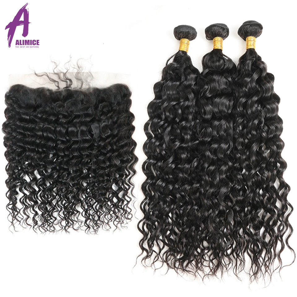 Alimice Indian Water Wave 3Bundles With Frontal Human Hair Bundles With Closure Remy Lace Frontal Closure