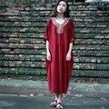 Твердые Army green Вышивка Плюс размер Платья Женщин Негабаритных Свободные Midi длинный Халат Платье Лето Чешского стиль Boho Платья A018
