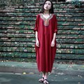 Solid Army green Embroidery Plus size Women Dress Oversized Loose  Midi long Robe Dress Summer Bohemian style Boho Dresses A018