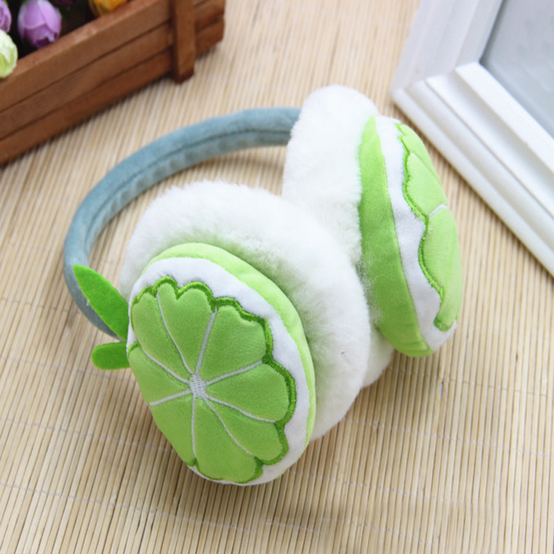 2018 Fashion Women Faux Fur Fluffy Winter Warm Earmuff Children Kids Soft Patchwork Cute fruit Earmuffs Boy Girls Birthday Gifts