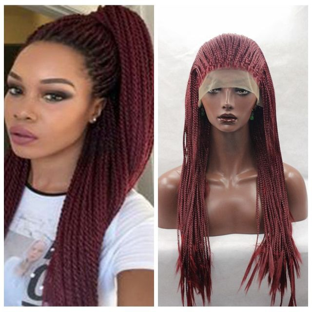 lace box braids wig synthetic hair
