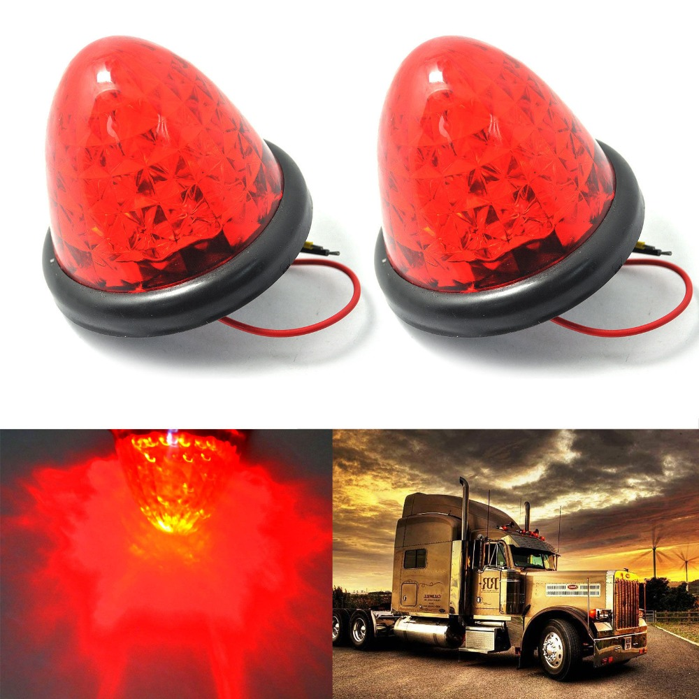 CYAN SOIL BAY 2X 3 Red 16-LED Truck Side Marker Lights Round Beehive Clearance Cab Top Roof Marker Bulbs 24V 12V