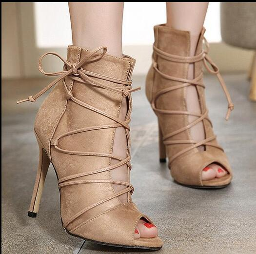 ФОТО 2017 Superstar love most woman boots concise design but very beautiful  lace-up closure type  open toe woman shoes stiletto heel