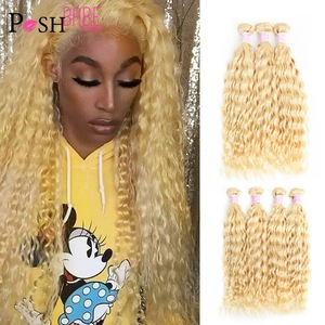 613 Honey Blonde Coloed Remy Brazilian Deep Wave Bundles Weave 8 - 30 inch Human Hair Extension Weft Can Buy 1 3 4 Bundle Deals(China)