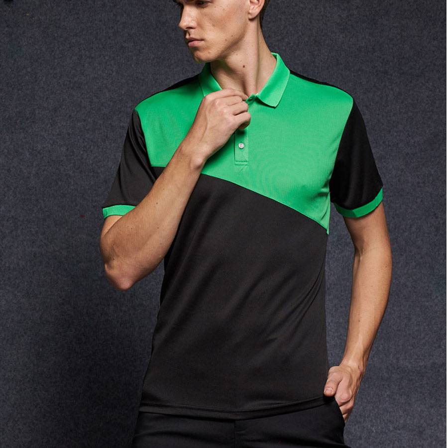 Polo Spring Summer Polos Shirt Brand Quick Dry Breathable Patchwork Polo Men Short Sleeve Fashion Slim Fit Sportswear Polyester Mesh Traveling Men's Clothing