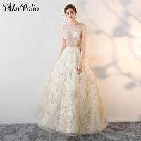 PotN Patio Sexy Gold Sequined Prom Dresses Long 2017 New Sexy Backless Ball Gown Evening Party