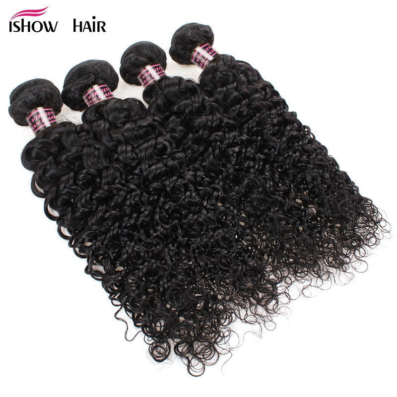 Ishow Hair 4 Bundles Peruvian Kinky Curly Human Hair Weave Bundles Deal Natural Color Non Remy Curly Human Hair Extensions
