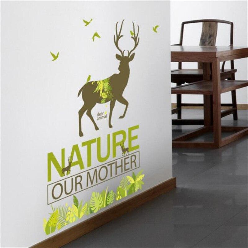 Idfiaf Grnen Wald Sikawild Wand Pvc Material Wandtattoos Moderne Diy Dekoration Eingerichteten Wohnzimmer Schrank In