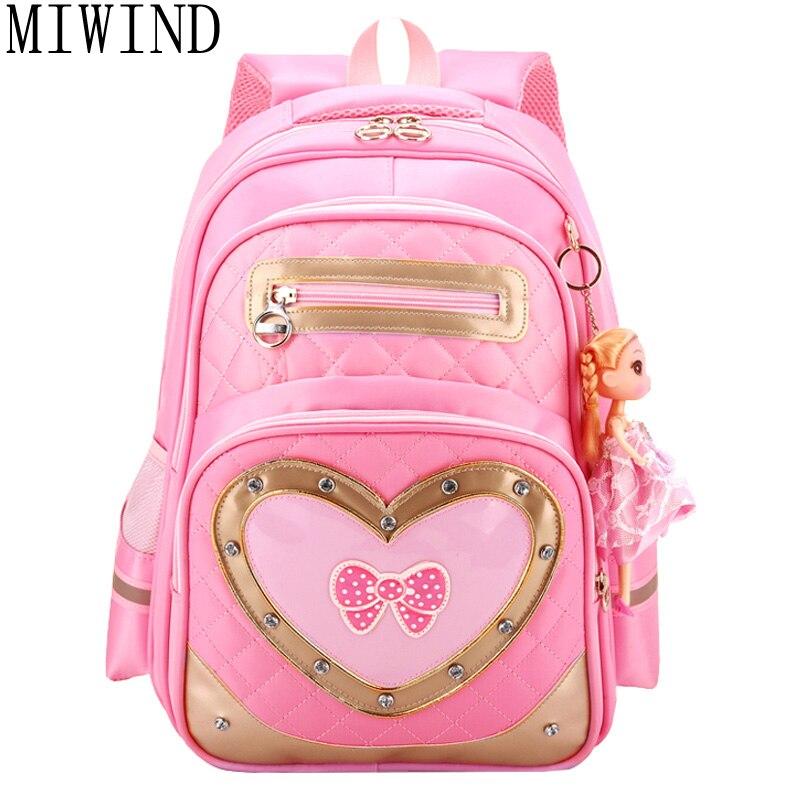 Miwind мультфильм Обувь для девочек ортопедические рюкзаки Книга сумка детей женщин отдыха и путешествий рюкзак Mochila ранец tkq035