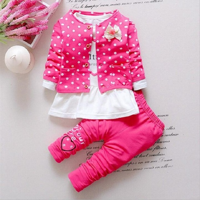 New spring & autumn  fashion baby girl sets long sleeve Dot Tops+T-shirt dress+pant 3pcs sets kids Clothing Set  children suits