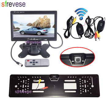 "7"" Car Vehicle LCD Monitor Rear View Kit + Wireless EU Car License Plate Frame Reversing Backup Parking 4 LED Camera"