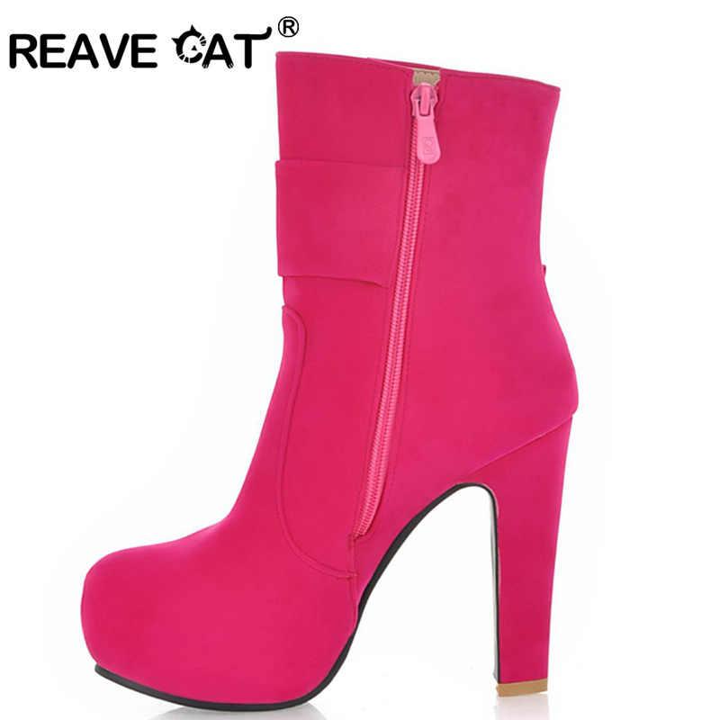REAVE KEDI Bahar Sonbahar Kadın ayakkabı Pompaları Kapalı ayak Platformları Yüksek topuklu Zip Papyon Akın Katı 4 Renk Parti Tatlı QL3186