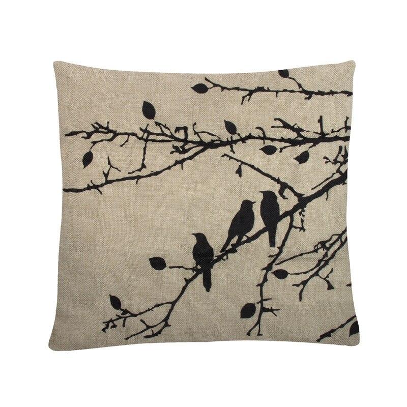 Cushion Cover Pillow Square Animals Birds Cotton Linen Cover Home Decorative Throw Pillows For Sofa Car Seat 45*45cm