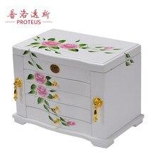 full lock wooden jewelry box real princess European birthday gift storage box