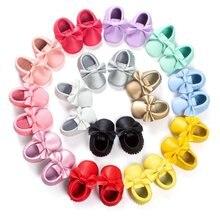Новинка 2017 года 22 Цвета Ленточки детские мокасины новорожденных Обувь мягкая подошва Искусственная кожа Prewalkers Сапоги и ботинки для девочек