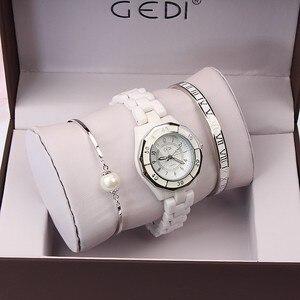 Image 5 - GEDI moda biała ceramika kobiety zegarki Top luksusowa marka panie zegarek kwarcowy 3 sztuk bransoletka zegarek Relogio Feminino Hodinky