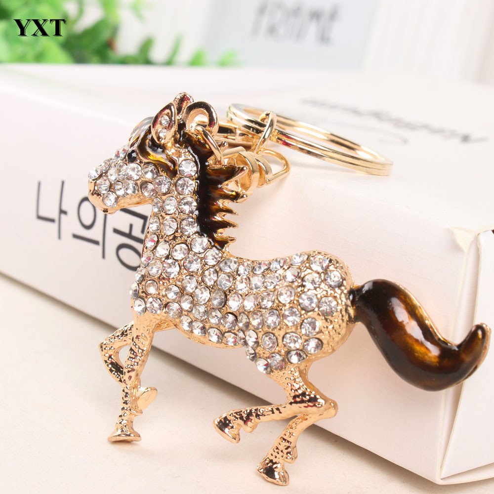 Horse Tail Hair Keyring New Cute Crystal Rhinestone Charm Pendant Purse HandBag Key Chain Accessories Birthday Party Gift