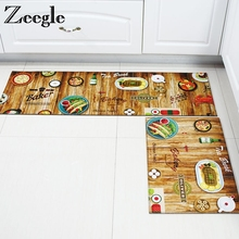 Zeegle Wood Painting Kitchen Rugs Door mat Anti-slip Area Ru