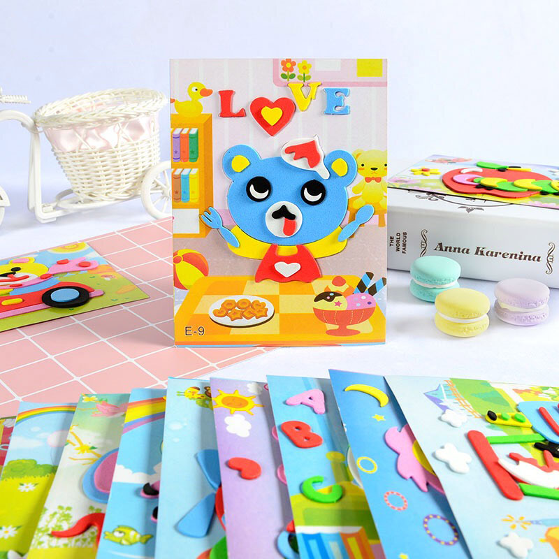 Advanced Edition DIY Cartoon Animal 3D EVA Foam Sticker Puzzle Toys For Kids Girl Action Learning Education Toys Birthday Gift