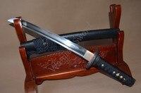 1095 высокоуглеродистой стали обкладка глиной японский самурайский короткий самурайский меч Танто пластинчатое лезвие цветы Tsuba очень остры