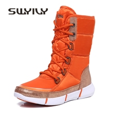 SWYIVY Cotton Padded Shoes Tall High Lace Up 2018 Winter Warm Fur Snow Boots Woman Female Waterproof Velvet Snowboots Winter 40