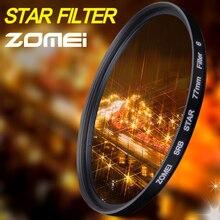 Zomei filtro de estrela linha 4 6 8, filtro piont para câmera, filtros 40.5 49 52 55 58 62 67 72 77 82mm para câmera canon nikon sony dslr