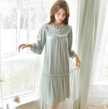 Summer Cotton Women White Lace Long Nightgowns Pink Short Sleeve Retro Loose Sleepwear Home Wear