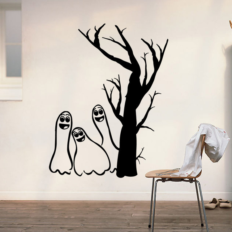 halloween wall stickers withered tree ghosts black background decoration creative pattern factory direct lower price - Halloween Wall Decor