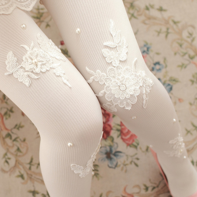 Sweet White/Black Flower Tights Fashion Women's Spring Pantyhose with Lace Applique