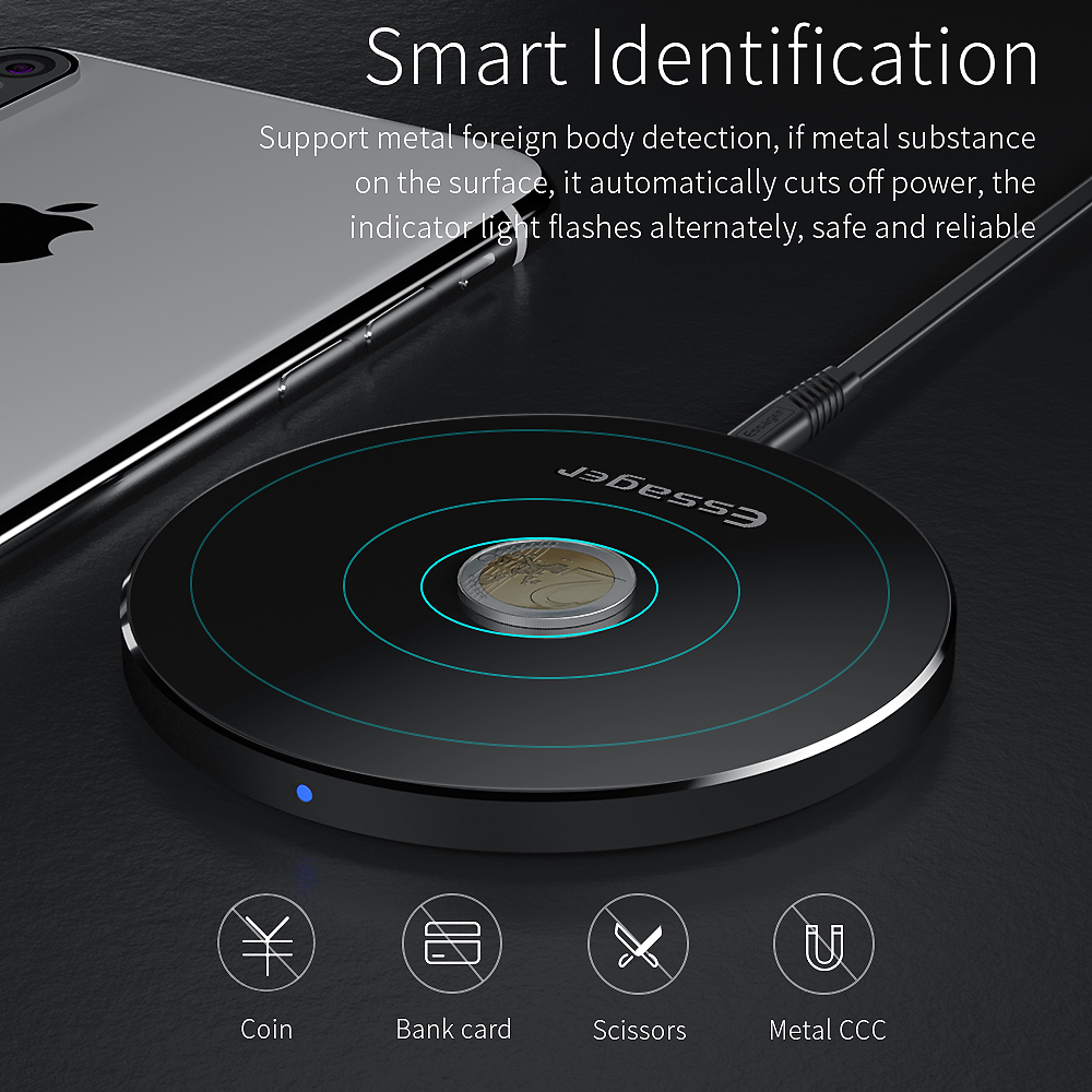 US $11 99 40% OFF|Essager QI Wireless Charger for iPhone Xs Xiaomi mi 9 10W  Fast Wirless Wireless Charging Pad For Samsung S10 S9 Wireles Charger-in