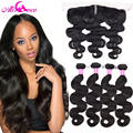 7A Ear to Ear Lace Frontal Closure With Bundles Peruvian Body Wave With Closure Full Frontal Lace Closure 13x4 With 3 Bundles