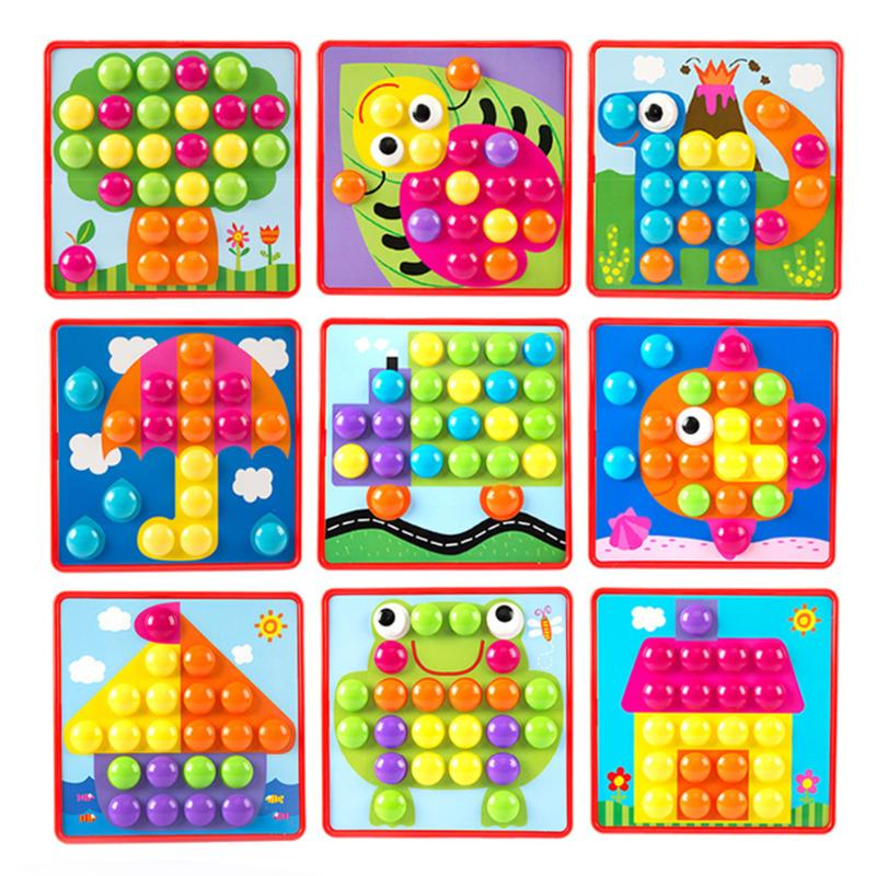 Montessori Kids 3D Mosaic Puzzles Board Colorful Buttons Assembling Mushrooms Nails Kit font b Baby b