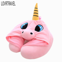 Funny Cartoon Airplane Neck Pillow with Hat Travel Comfortable Cushion Soft Pillow Under The Neck Pillows for Travel Office Nap