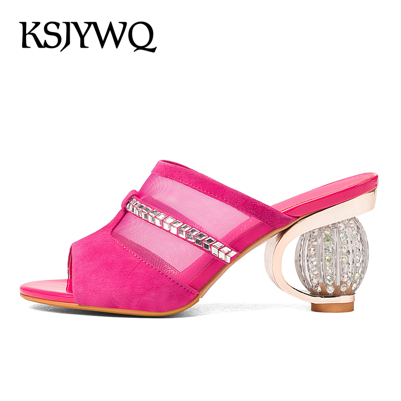 KSJYWQ Women Mules Open-toe Summer Slippers Diamond 8 CM Chunky Heels Sexy ladies Party Shoes Woman Slides Box Packing KL831 ksjywq genuine leather flowers women sandals sexy exposed toe white shoes summer style clip toe shoes woman box packing a2571