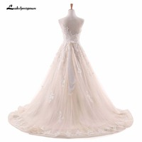 Champagne Wedding Dresses With Ivory Lace Appliques Bridal Dress Muslim Plus Size Lace Wedding Dress 2018