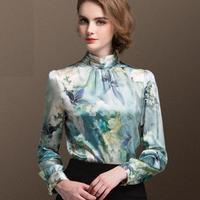 2018 Модные узкие длинные рукава принт шелковая рубашка женские весенние шелковые блузки женские большие размеры Стенд воротник рубашки блу