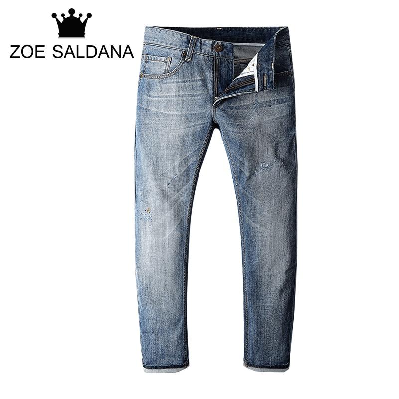 Zoe Saldana Men Denim Jeans 2017 New Brand Men's Spring Autumn Solid Slim Fit Classic Jean Male Casual Straight Trousers men s cowboy jeans fashion blue jeans pant men plus sizes regular slim fit denim jean pants male high quality brand jeans