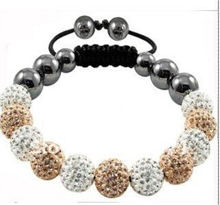 wholesale CRYSTAL 10MM gold&white color  DISCO BALL BEADS SHAMBALLA  BRACELET FREE Shipping
